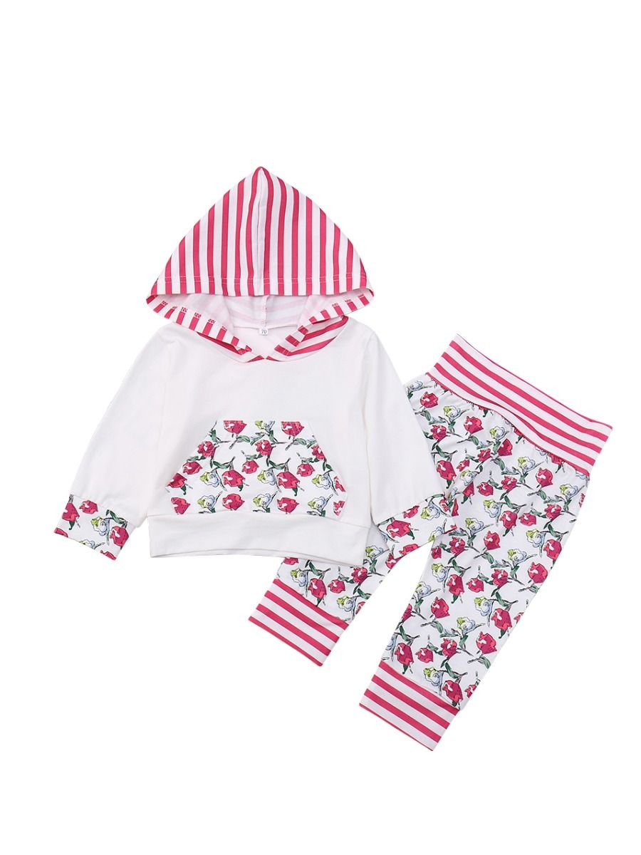 ee1c00eb2cc9 ... Casual 2-piece Baby Toddler Girls Kids Clothing Set Sport Outfits Long  Sleeve Striped Hooded ...