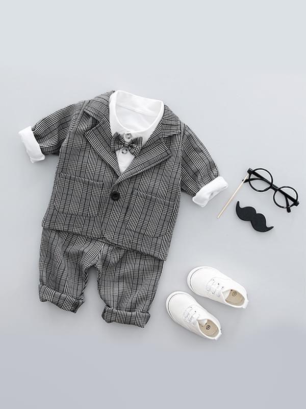 Wholesale 3 Piece Formal Style Plaid Cotton Boy Suit