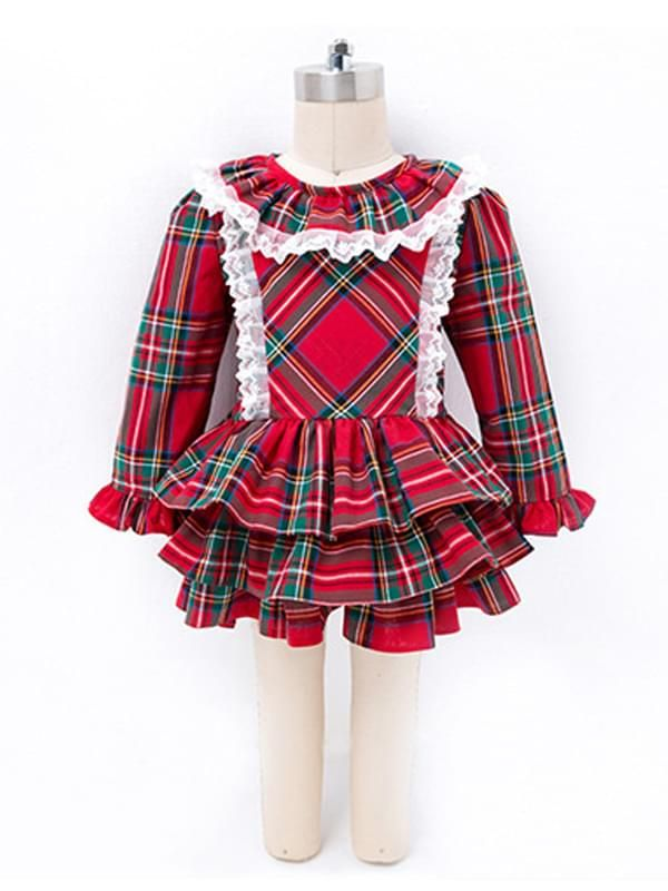 4f24643259e ... Kiskissing Red 2-piece Dress Hat Set Long-sleeve Plaid Dress for  Toddlers Girls ...