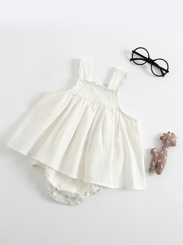 d77f9d47d63f8 ... Kiskissing white Sleeveless Strapped Cotton Romper Dress for Baby  Toddler Girls wholesale children s boutique clothing ...