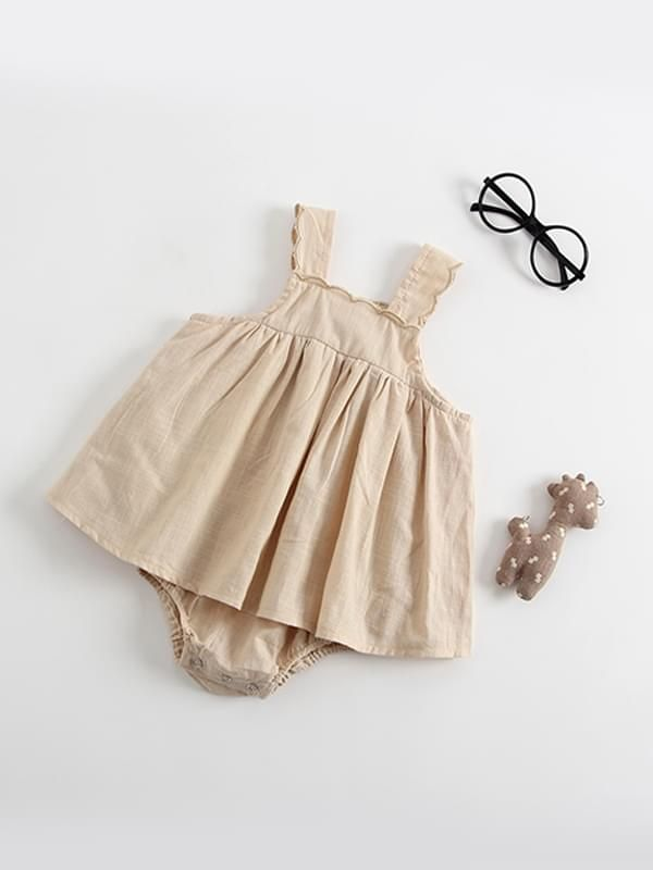 8121af2caa5c5 Kiskissing brown Sleeveless Strapped Cotton Romper Dress for Baby Toddler Girls  wholesale childrens clothing ...