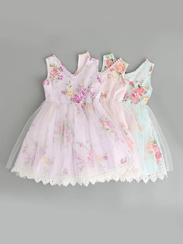 d113226b8 ... wholesale children's boutique clothing Kiskissing Sleeveless Flowers  Tulle Cotton Ruffled Princess Dress for Toddlers Girls purple pink & colors  ...