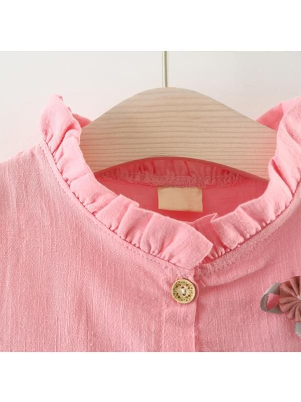 51aca5224 ... Kiskissing pink Solid Color Shirt Dress Long-sleeve Bamboo Fiber Cotton  for Toddlers Girls the ...