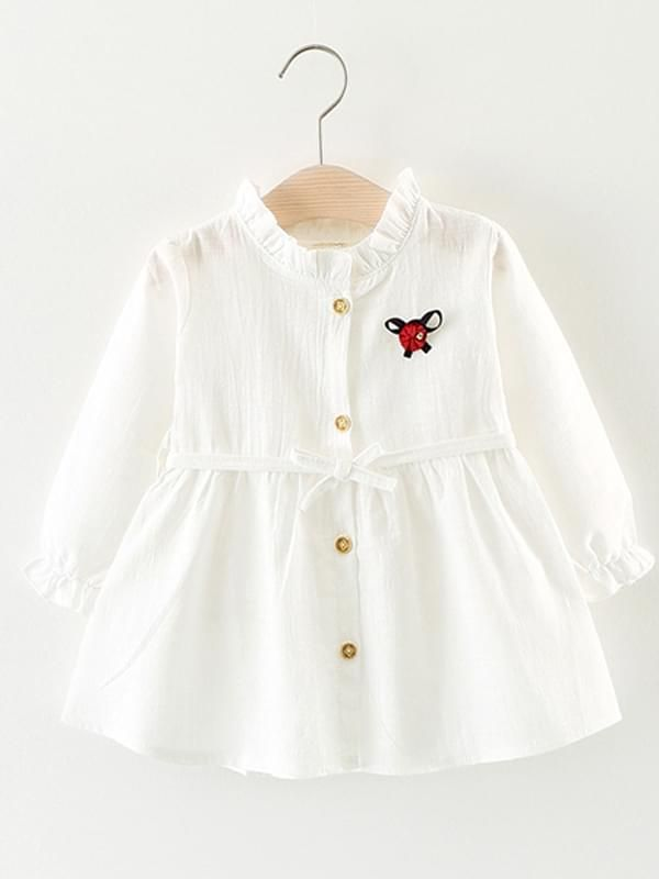 84298b2b1 ... Kiskissing white Solid Color Shirt Dress Long-sleeve Bamboo Fiber Cotton  for Toddlers Girls kids Kiskissing pink ...