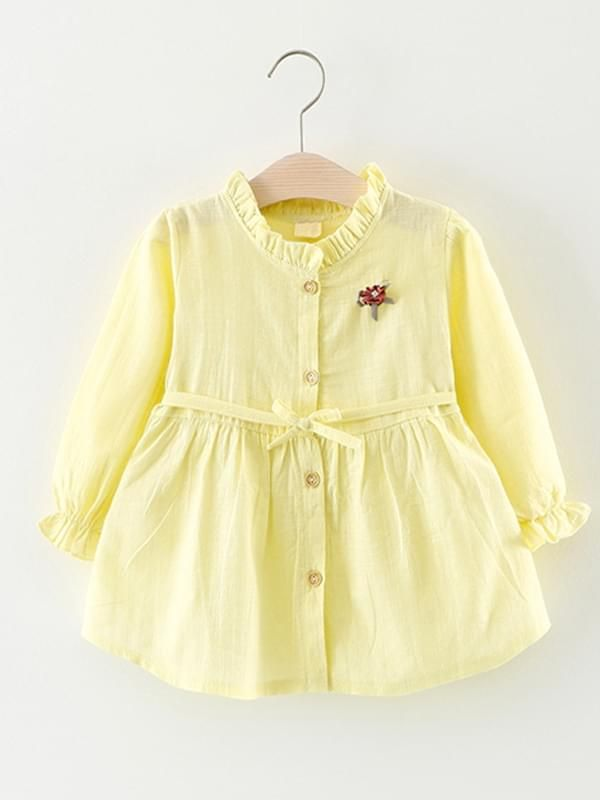 0e465b252 ... wholesale Kiskissing yellow Solid Color Shirt Dress Long-sleeve Bamboo  Fiber Cotton for Toddlers Girls toddler ...