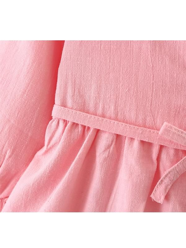 d28042fbd ... Kiskissing pink Solid Color Shirt Dress Long-sleeve Bamboo Fiber Cotton  for Toddlers Girls the