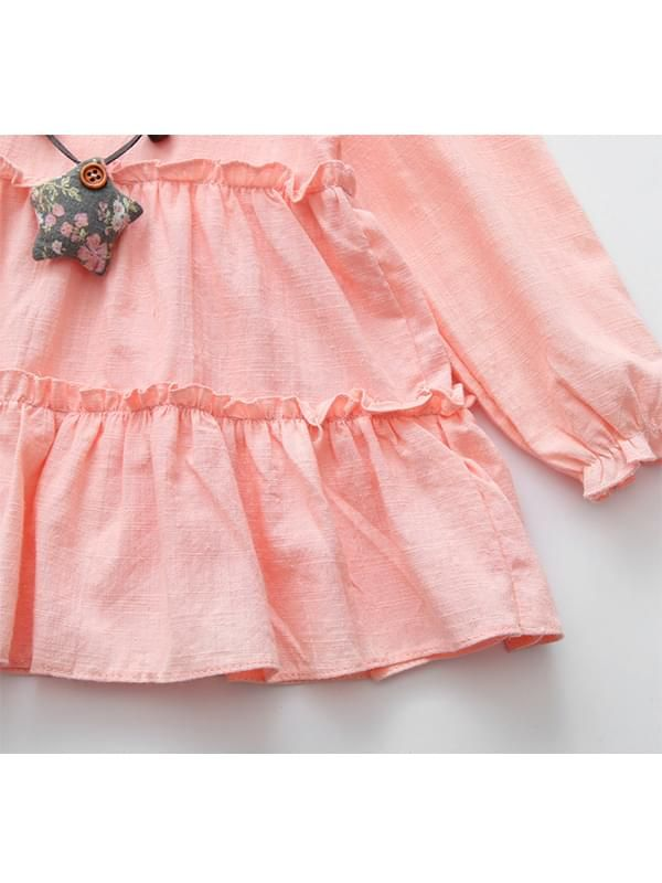 c7b87b089f4e ... Kiskissing pink Solid Color Ruffled Long-sleeve Cotton Dress for  Toddlers Girls the obverse side ...