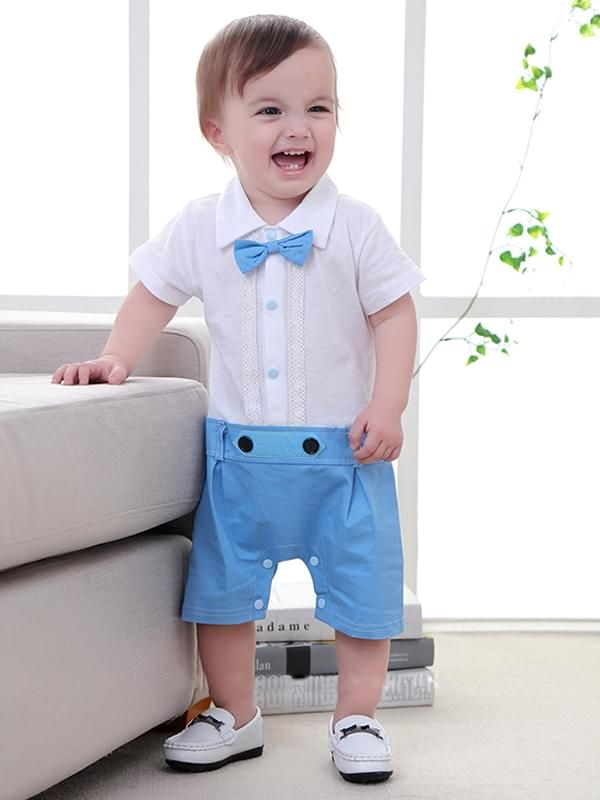 fe4006d76c9e Tap to expand · Kiskissing Bow Formal Style Cotton Romper Jumpsuit Short- sleeve for Baby Boys the model show ...
