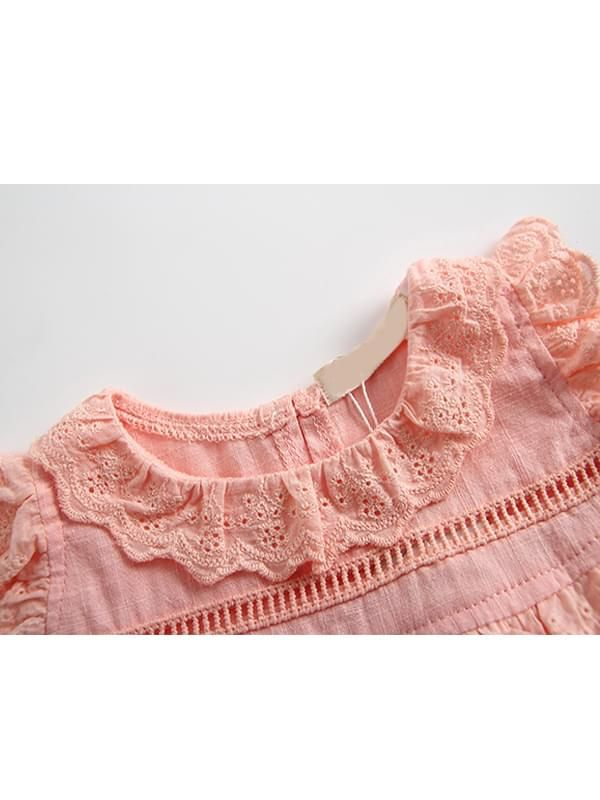 1b0ecc68f61d ... Kiskissing pink Thin Sleeveless Lace Bodysuit Romper with Detachable Hat  for Baby Toddler Girls the collar ...