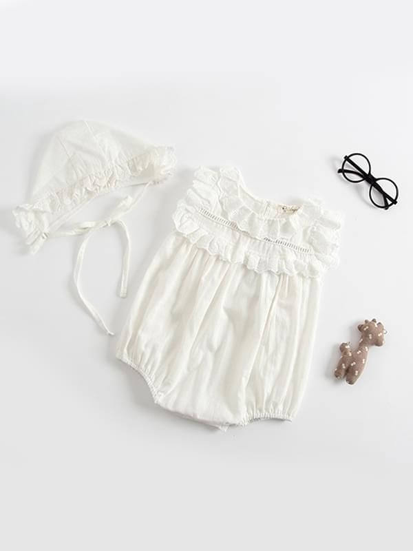 b4f7e2930b4b ... pink Kiskissing white Thin Sleeveless Lace Bodysuit Romper with Detachable  Hat for Baby Toddler Girls trendy kids ...