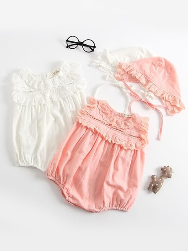 875d708c74df ... wholesale baby Kiskissing Thin Sleeveless Lace Bodysuit Romper with Detachable  Hat for Baby Toddler Girls white & pink ...