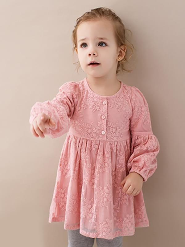 bdecb5cd4a0ff ... the model show Kiskissing pink Long-sleeve Flowers Lace Buttons  Princess Dress for Toddlers Girls children s boutique clothing ...