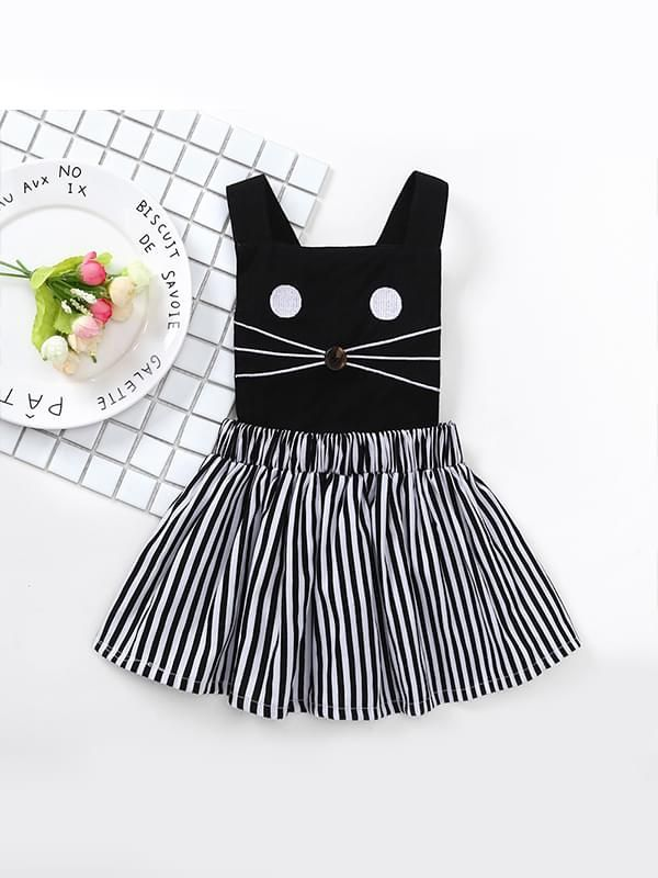 Wholesale Cat Sleeveless Strapped Cotton Dress Striped