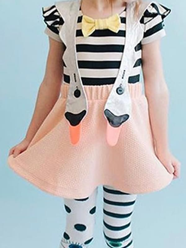 5f1a7219591f ... Kiskissing Swan Pattern Strap Dress Sleeveless Cotton for Baby Toddler  Girls the model show wholesale baby ...
