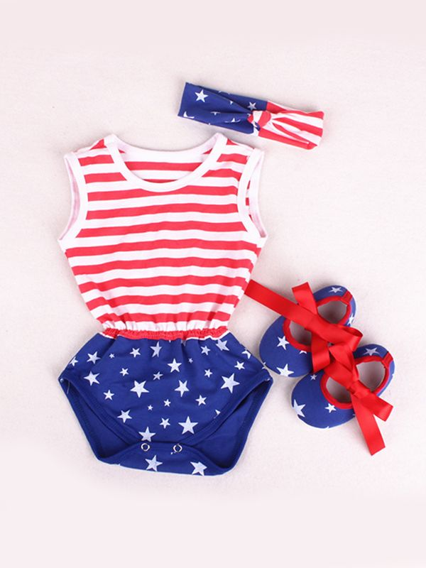 04799b68047d ... 4th of July US Independence Day 3-piece Romper Set Stripes Stars  Bodysuit Headband Shoes ...
