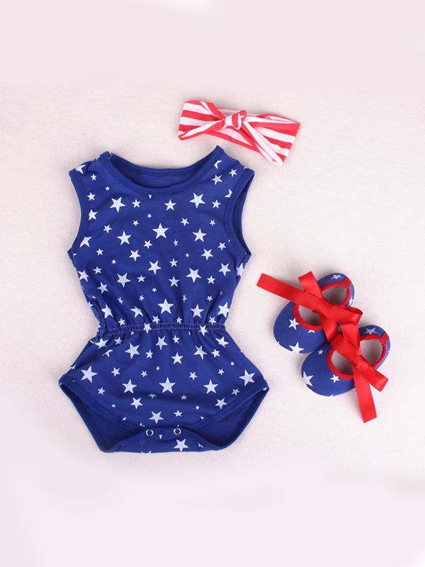 948098315bff ... 4th of July US Independence Day 3-piece Romper Set Stripes Stars  Bodysuit Headband Shoes