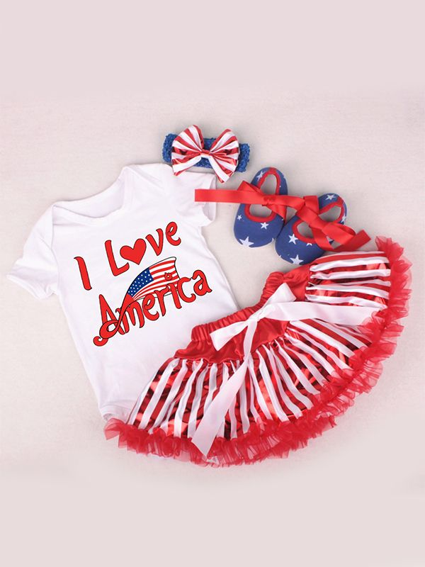 979d73402d27 ... 4th of July US Independence Day 4-piece Romper Skirt Set Bodysuit Tulle  Skirt Headband ...