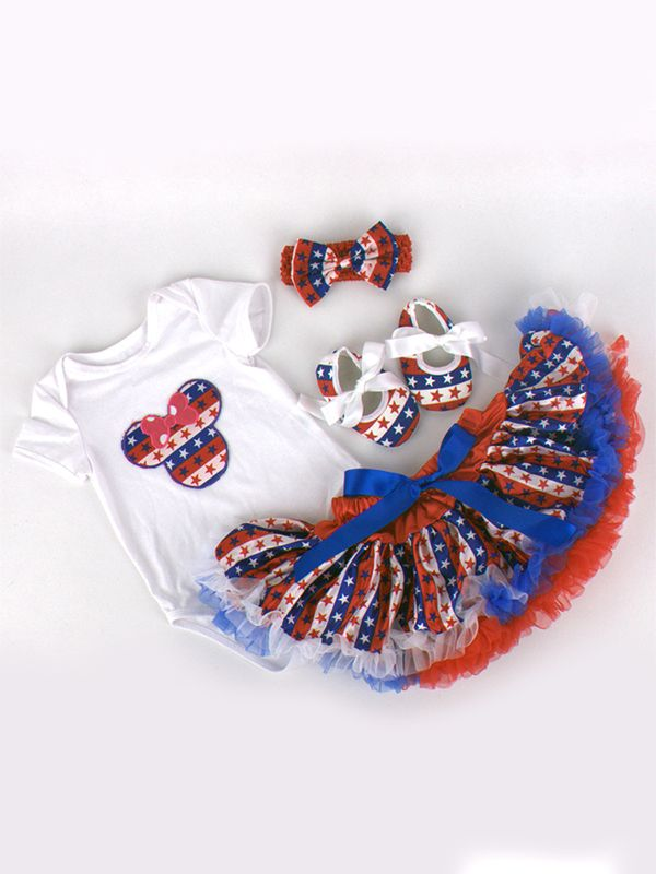 79050ed9c 4th of July US Independence Day 4-piece Romper Skirt Set Bodysuit Tulle  Skirt Headband ...