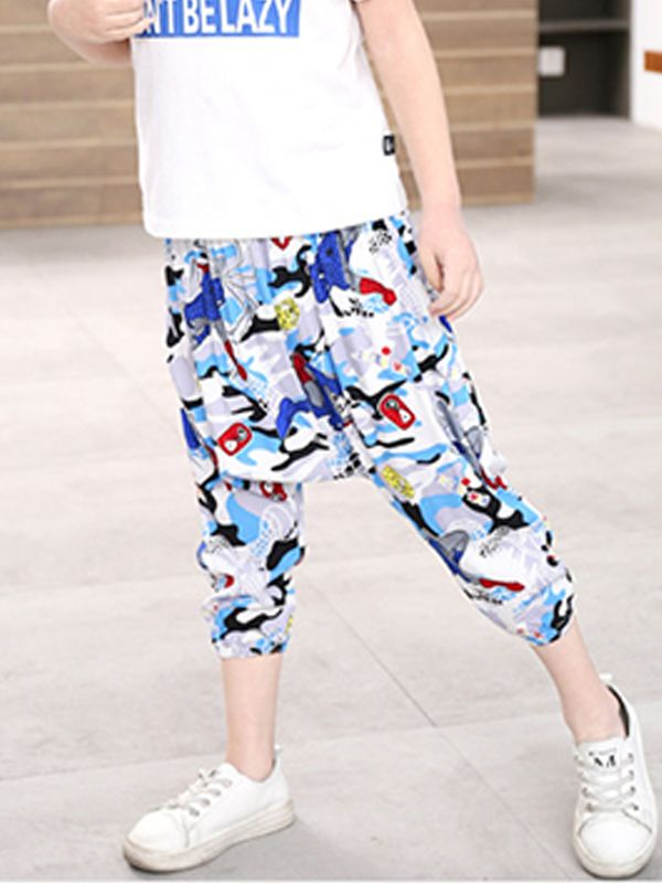 5e49a753c ... Kiskissing Cool Cotton Harem Pants Trousers Cartoon Print for Toddlers  Boys trendy kids wholesale clothing ...