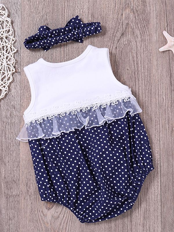 dc82f3a9f ... kids Kiskissing Hot Sale Polka Dots Baby Romper Bowknot Sleeveless  Cotton Bodysuit For Babies Girls wholesale baby ...