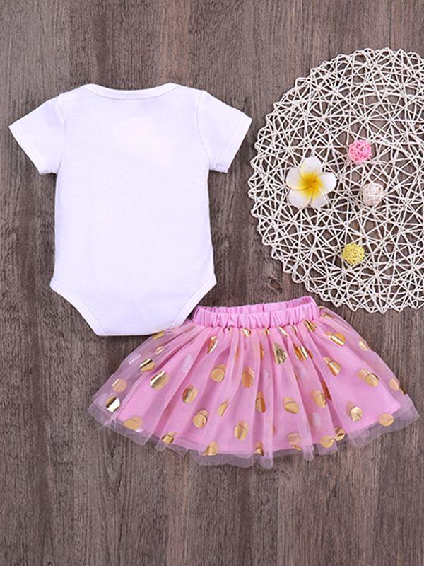 05bc61e444b9 ... Kiskissing 2-piece Romper Skirt Baby Set Crown Letters Print White  Bodysuit Golden Dots Tulle ...