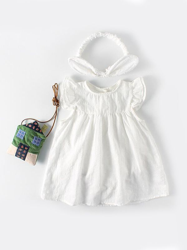 c977b0fc4d47 Kiskissing White Cotton Romper-dress Sleeveless Buttons for Baby Girls  children s boutique clothing wholesale the ...