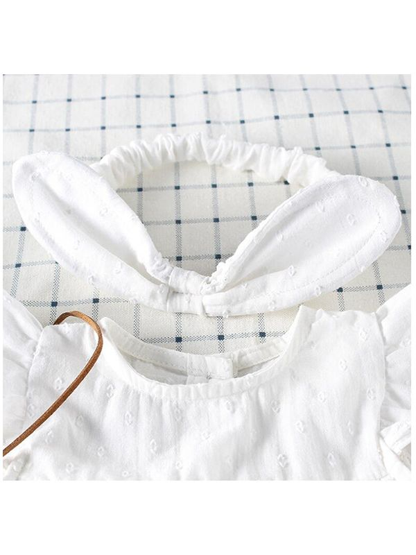 b27e279729558 ... wholesale baby dresses Kiskissing White Cotton Romper-dress Sleeveless  Buttons for Baby Girls the collar details the hairband