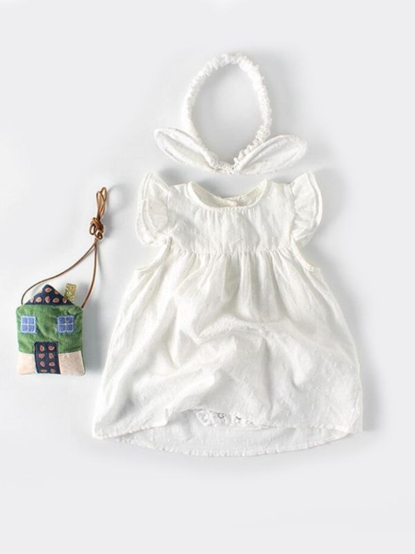 d0ee995cd4785 ... boutique clothing the Kiskissing White Cotton Romper-dress Sleeveless  Buttons for Baby Girls trendy kids wholesale clothing ...
