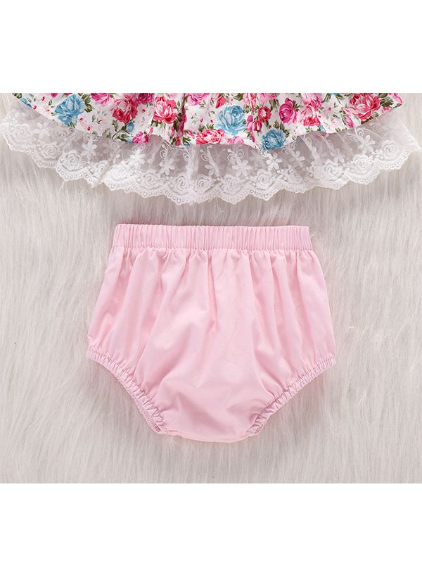 df5cac66267 Kiskissing 2-piece Dress Panties Baby Set Floral Printed Lace-trimmed Dress  Pink Cotton ...