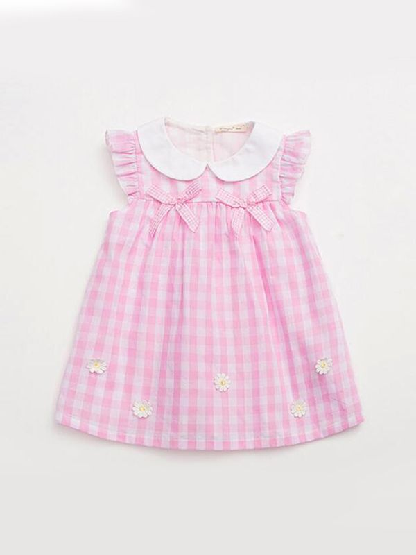 Pink-and-white striped toddler dress or tunic with delicate Peter Pan collar appliqued car and flower and creative use of rickrack