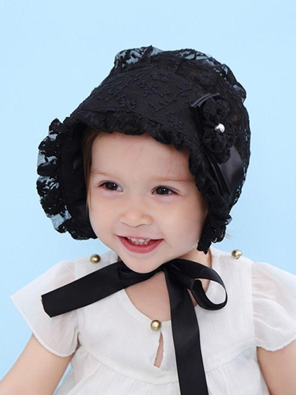 acc6e128be0de ... Lace-trimmed Princess Hat Sun-resistant Baby Girls Cap Bandage Palace  Sunhat ...