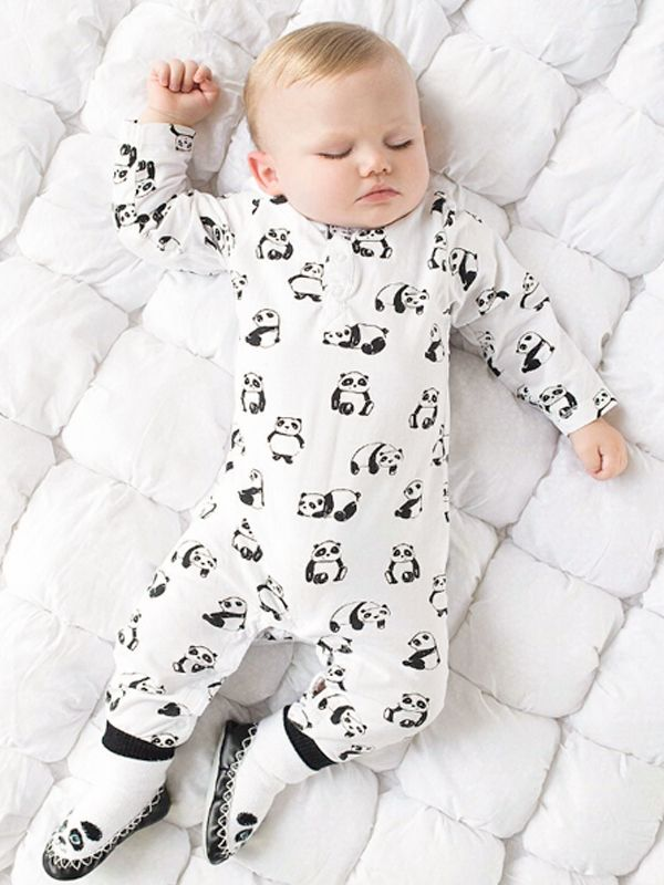 ... Cute Panda Print Cotton Romper Pajamas Long-sleeve Jumpsuit for Baby  Boys Girls ... e238f0ff35c5