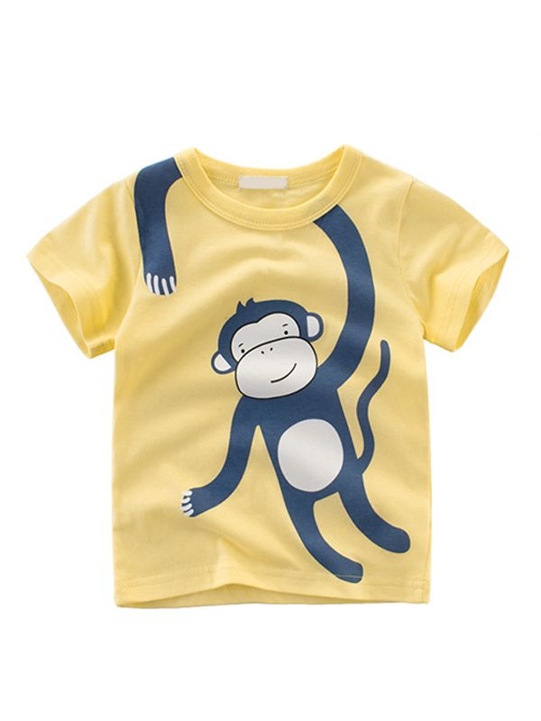 3f4fcd0a ... Giraffe Monkey Lion Tiger Print Cotton Tee Short-sleeve T-shirt Top for  Toddlers ...