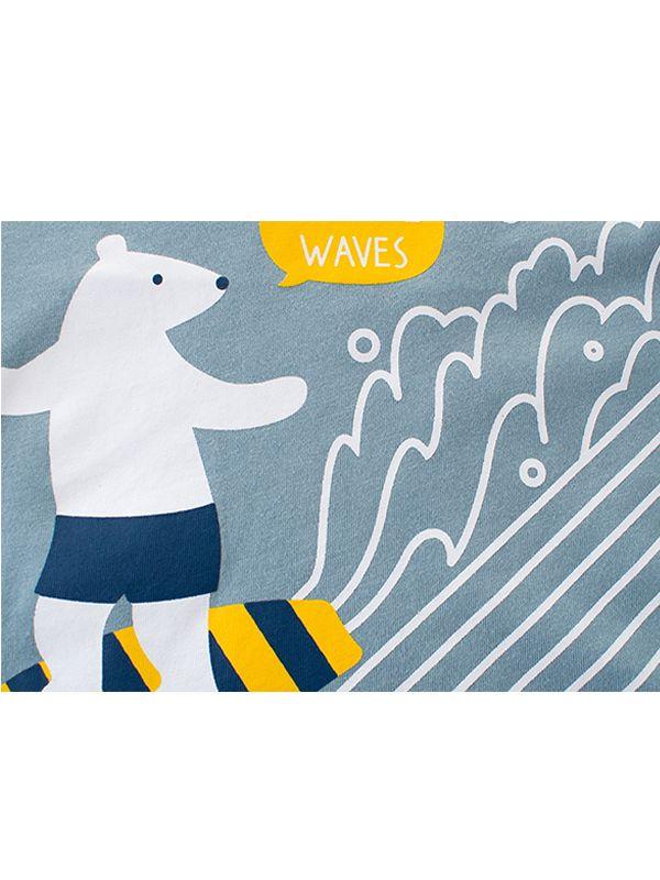 4cadebdfd Wholesale Blue Cartoon Polar Bear Surfing Print Cotton