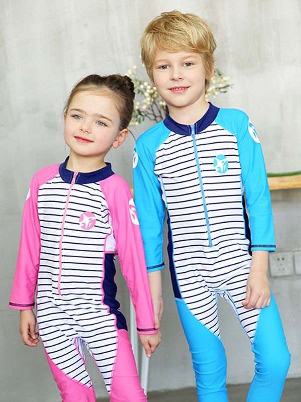 kiskissing wholesale 2-piece hat onesies swimwear toddler set zippered striped toddler swimsuit