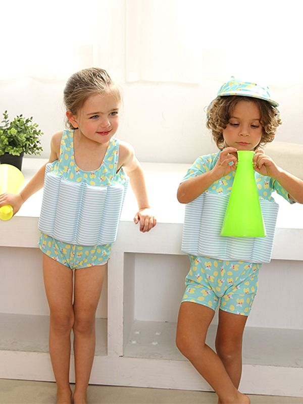 kiskissing wholesale floral print buoyancy swimsuit swimwear for toddler boys girls