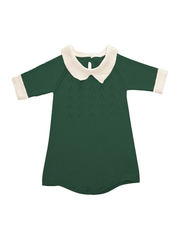 1884693c80e ... Cute Solid Color Knitted Romper for Baby Toddler Boys Girls Peter Pan  Collar Autumn Winter ...