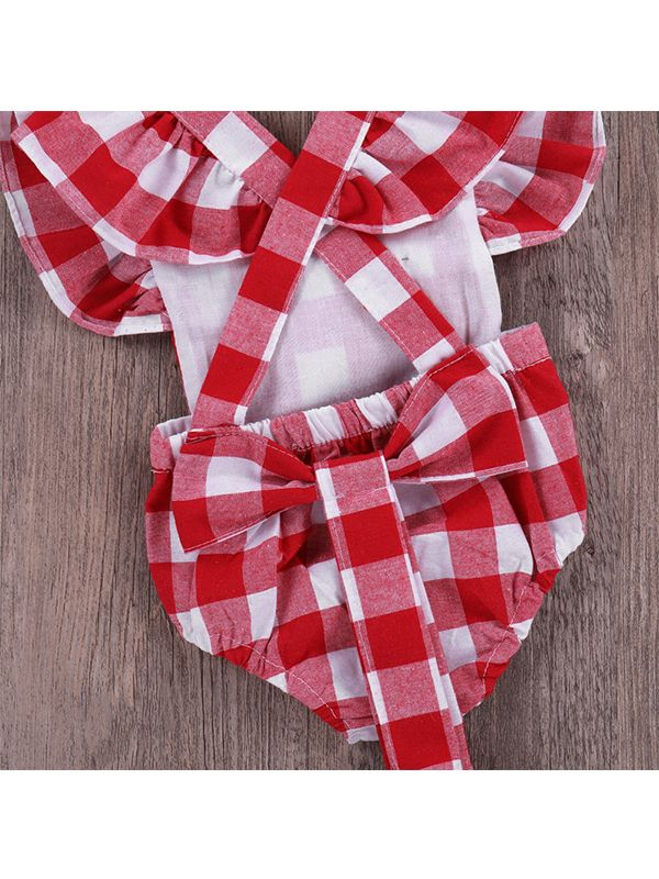 ... 2-piece Red Plaid Headband Romper Baby Set Cap Sleeves Cotton Romper ... 13684373412