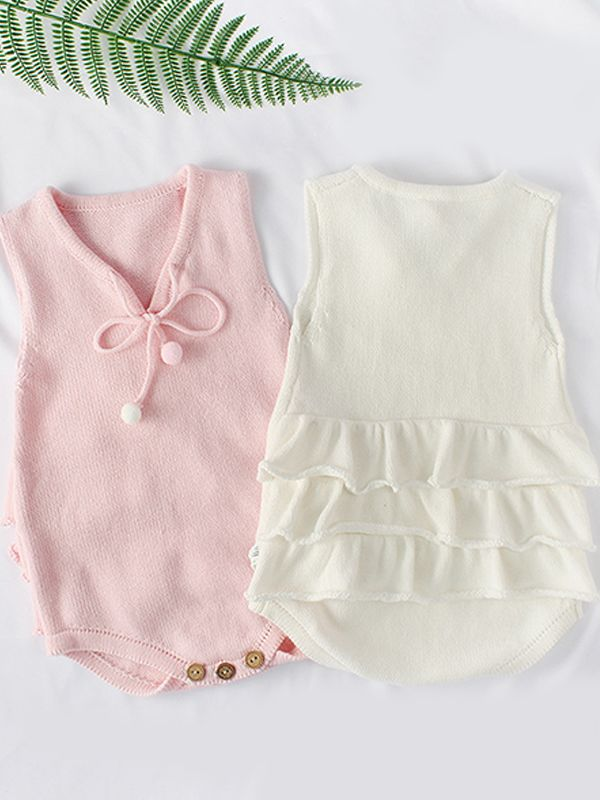 00cebba6e82 ... Flounced Knitted Cotton Romper Sleeveless Solid Color Bodysuit for Baby  Girls ...