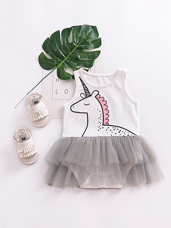 01d0a9e8eff7 ... Cartoon Unicorn Tulle Skirt-like Romper Bodysuit for Baby Girls ...