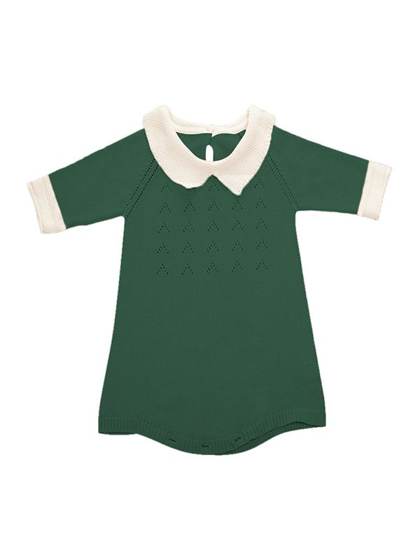 99b60f347349 Cute 3 4 Sleeves Knitted Baby Girls Romper Onesies Cotton Pink Green ...