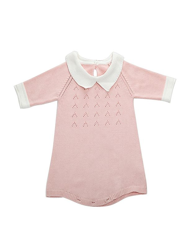 a1d9bd1c8aba ... Cute 3 4 Sleeves Knitted Baby Girls Romper Onesies Cotton Pink Green ...