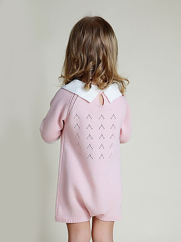 408accafda7f ... Cute 3 4 Sleeves Knitted Baby Girls Romper Onesies Cotton Pink Green