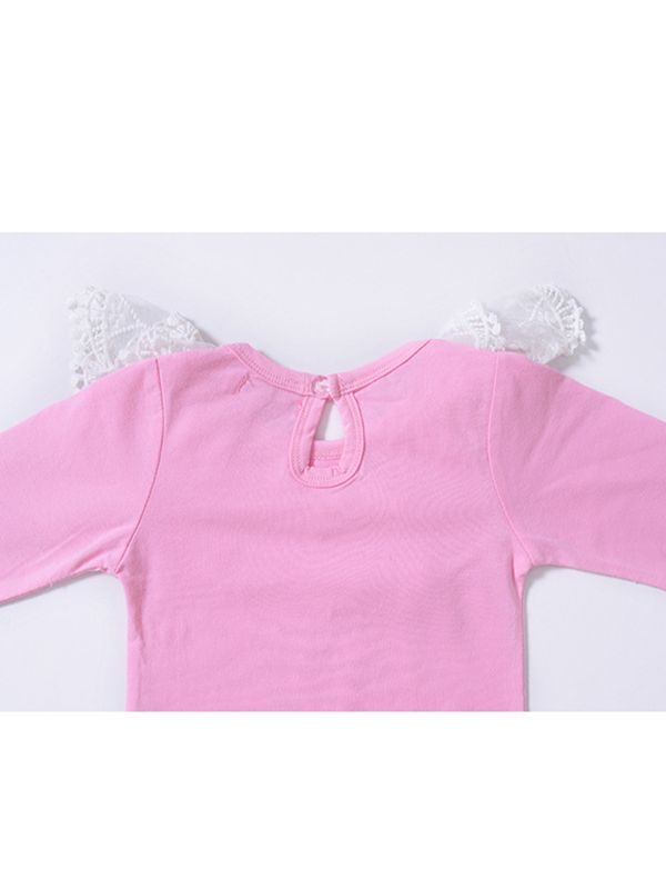 ea7ef096a3 ... Cute Pink Lace Collar Cotton Romper Long sleeve Bodysuit for Baby Girls  ...
