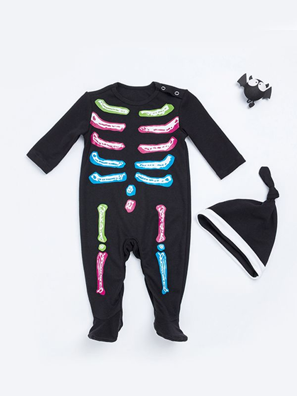 cc73881a7d1 Halloween 2-piece Cool Skeleton Romper Hat Set Long-sleeve Jumpsuit Holiday  Wear for ...