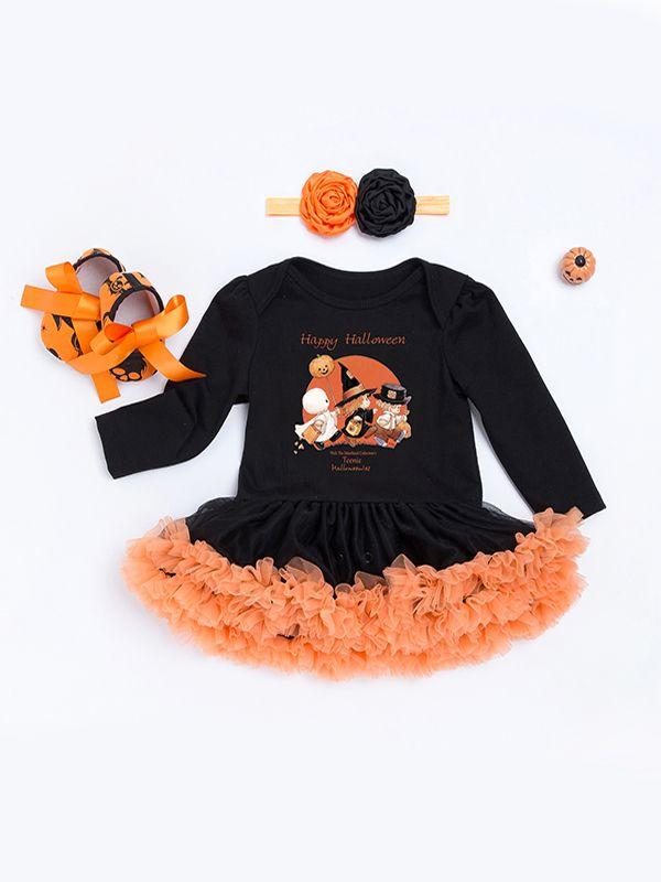 ... Halloween 3-piece Skull/Pumpkin/Bat Print Dress-like Romper Headband Shoes ...