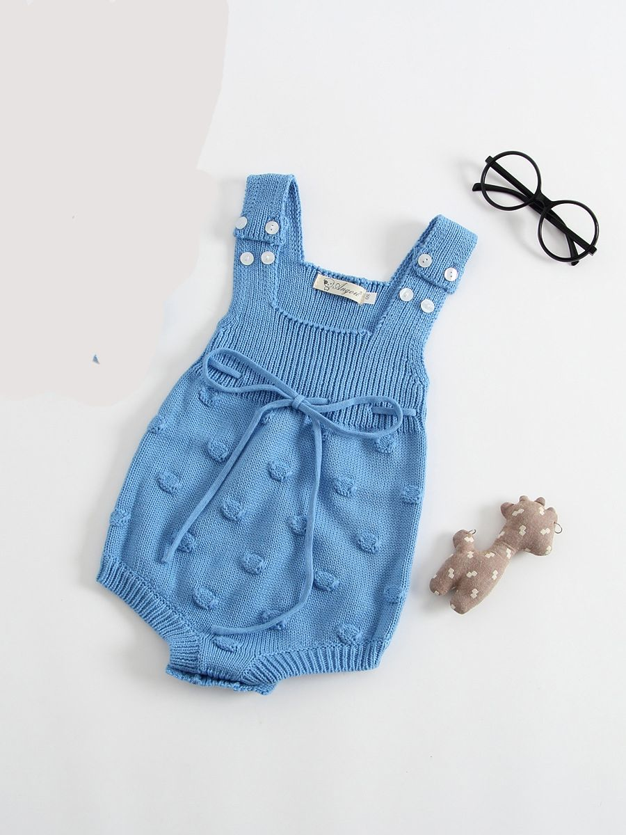 31b50a831678 Sleeveless Solid Color Knitted Handcrafted Bubbles Baby Romper Bodysuit ...