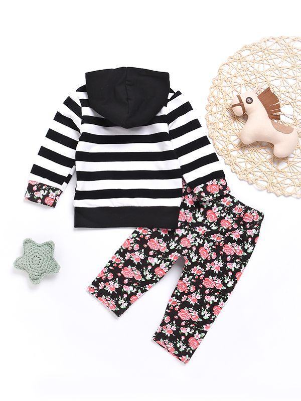 b4178c1f0bca Wholesale 2-piece Floral Print Hoodie Pants Baby Girls