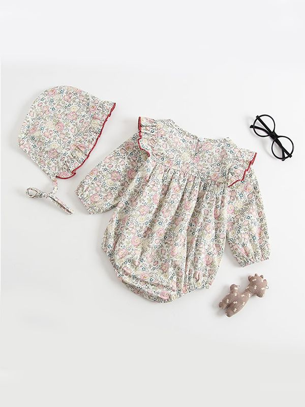 1d7ff893b984 ... 2-piece Floral Print Detachable Hat Pleated Romper Onesies Bodysuit  Baby Girls Set ...