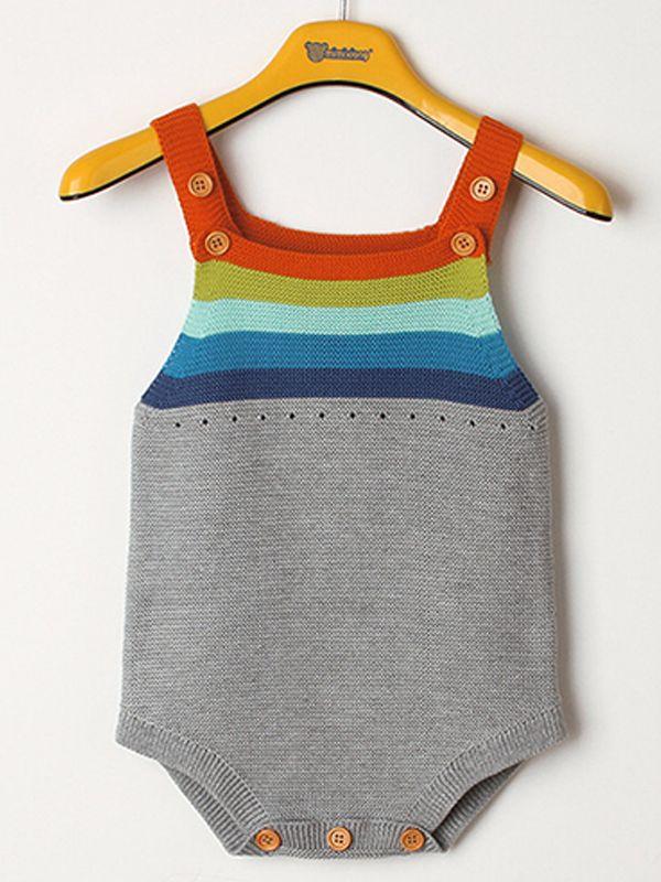 bcd29846b320 ... Rainbow Stripes Knitted Baby Suspender Onesies Romper Bodysuit ...